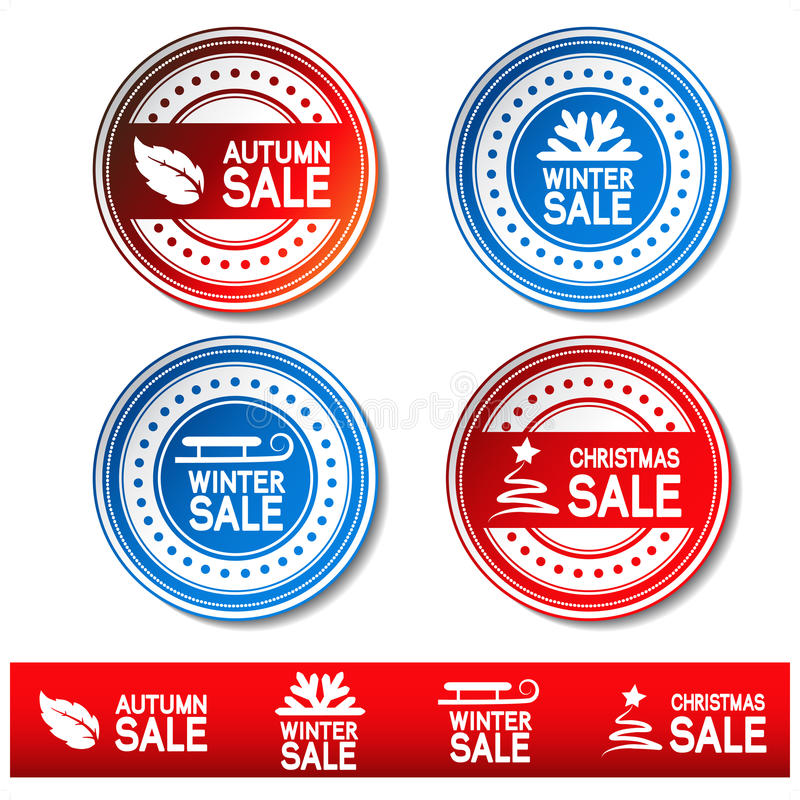 Download Vector Autumn, Winter, Christmas Sale Stickers Stock Vector - Illustration of badge, celebration: 21311919