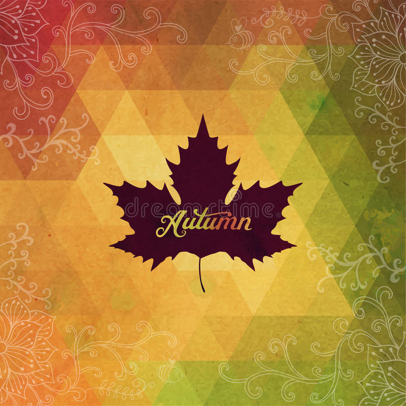 Free Vector Autumnal Maple Leaf Background Made Of Triangles. Retro B Royalty Free Stock Photos - 50384748