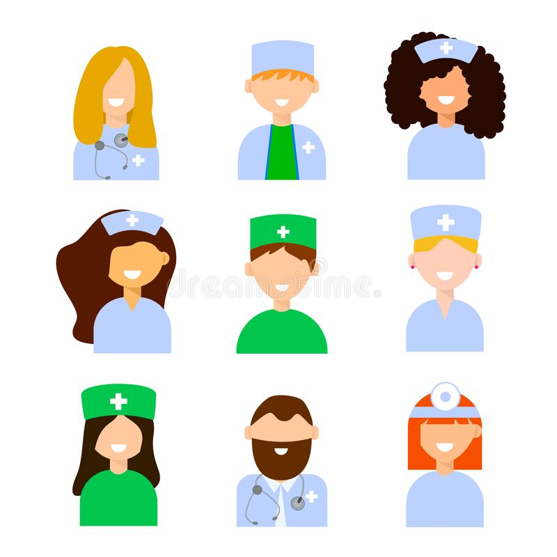 Vector avatar of doctor. Medical staff - set of icons with doctors and nurses. On a white background royalty free illustration