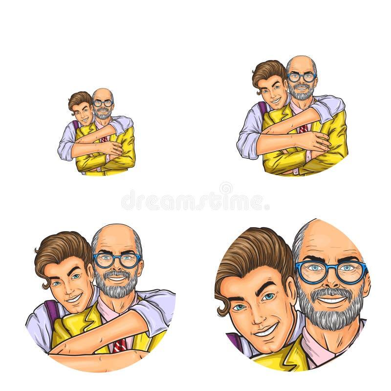 Vector avatars sociais do usuário da rede do pop art do abraço do avô e do neto Esboço retro do homem adulto do abraço do menino ilustração royalty free