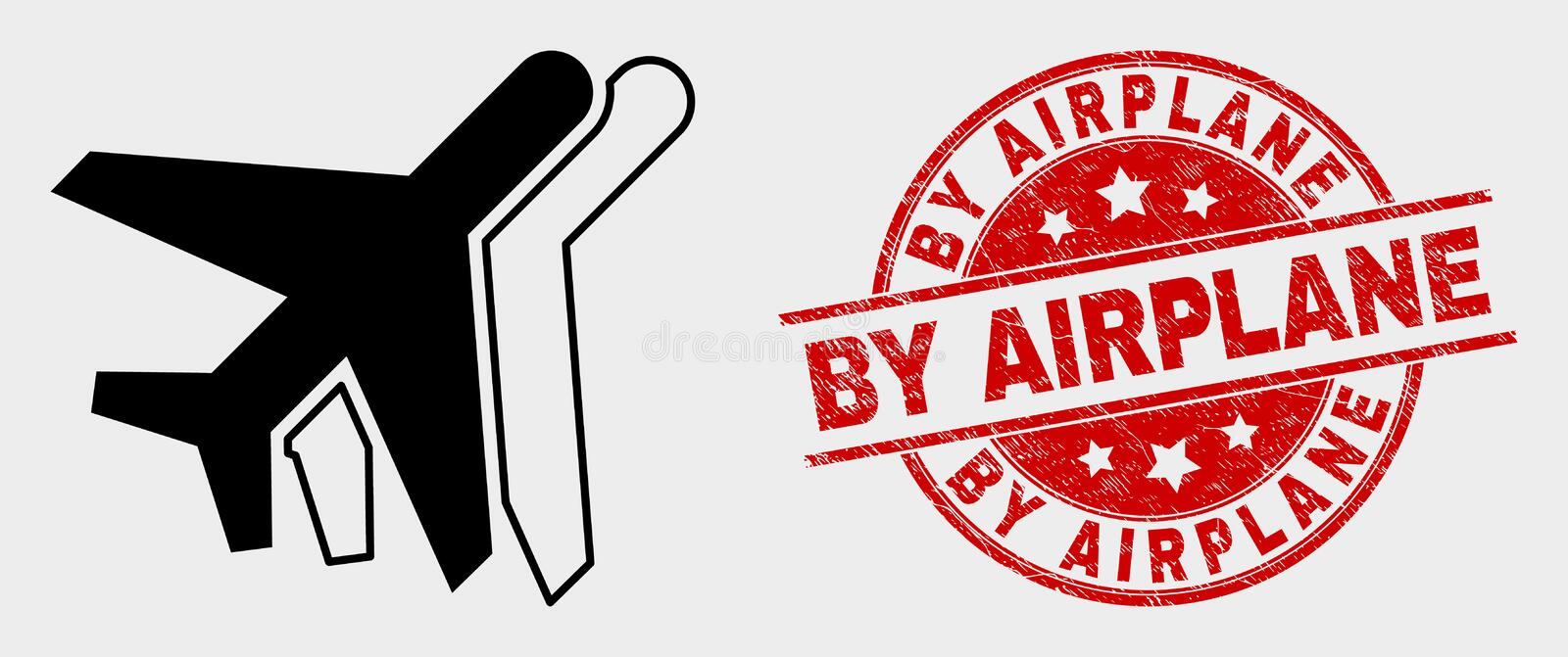 Vector Aviation Icon and Grunge By Airplane Seal. Vector aviation icon and By Airplane seal stamp. Red rounded scratched seal with By Airplane caption. Vector stock illustration