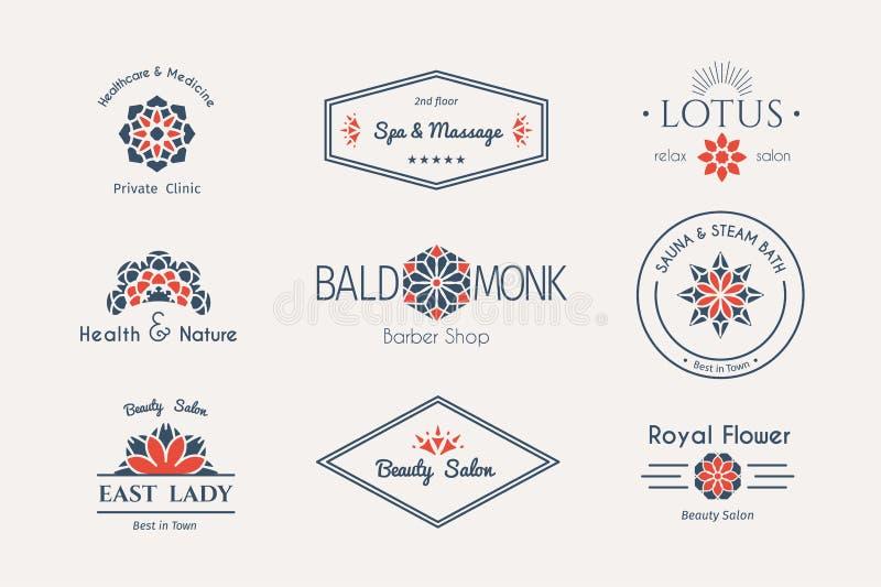 Vector Aziatische embleemmalplaatjes royalty-vrije illustratie