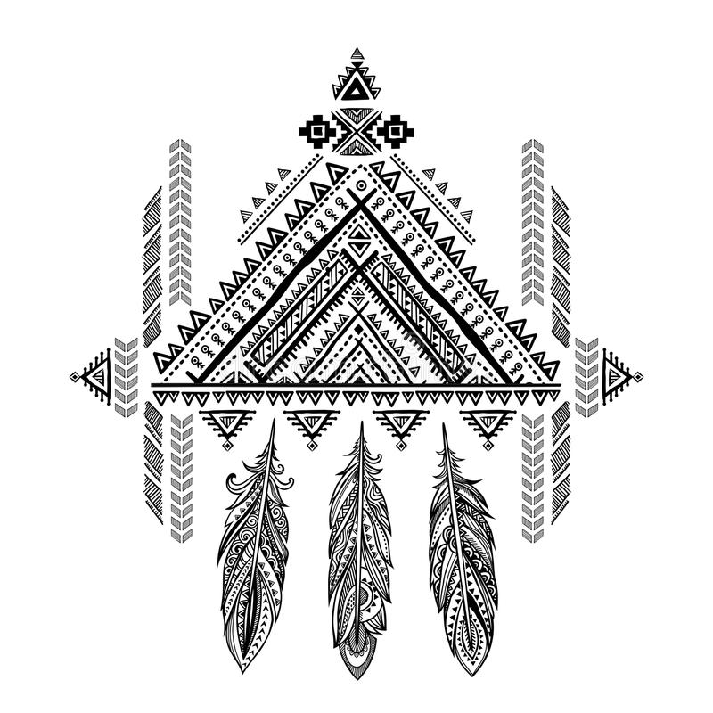 Vector Aztec Mexican tribal ornament dream catcher. African ethn. Ic ornament. Tribal tattoo design could be used as greeting card, business card, phone case royalty free illustration
