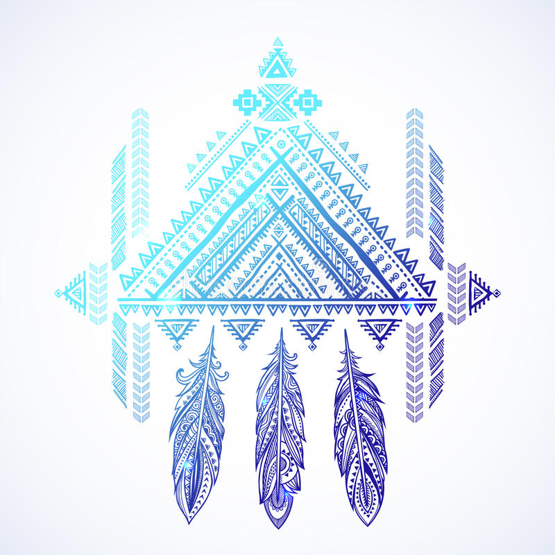 Vector Aztec Mexican tribal ornament dream catcher. African ethnic ornament. Tribal tattoo design could be used as greeting. Card, business card, phone case stock illustration