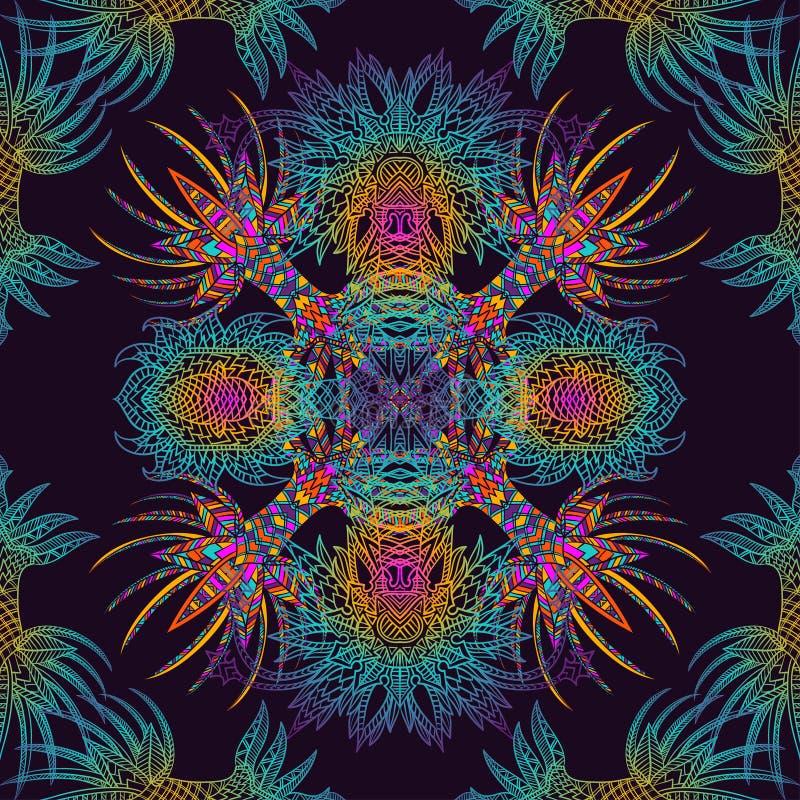 Vector Azteeks geometrisch naadloos patroon Achtergrond met een Latijns-Amerikaans ornament stock illustratie