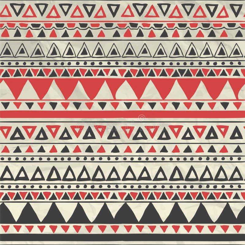 Vector Azteeks Stammen Naadloos Patroon op Verfrommeld stock illustratie