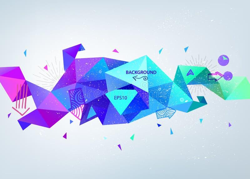 Vector azul colorido abstrato a bandeira de cristal lapidada, 3d forma com triângulos, molde geométrico, moderno ilustração stock