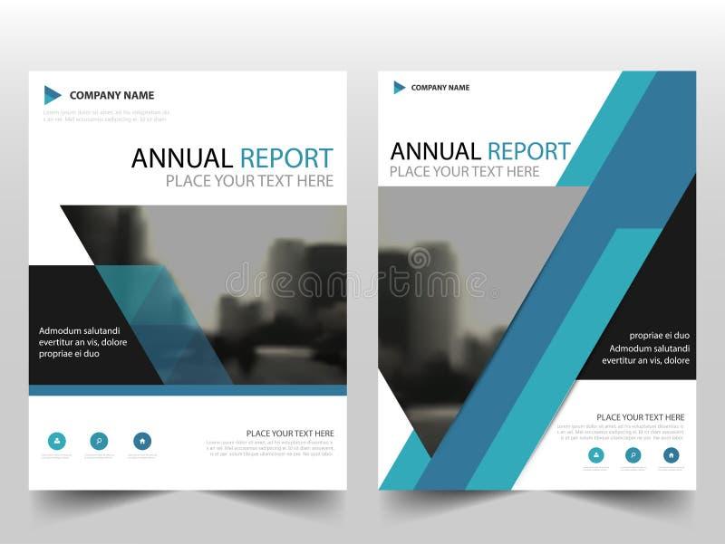 Vector azul de la plantilla del diseño del aviador del folleto del informe anual de la etiqueta del triángulo, fondo plano del ex stock de ilustración