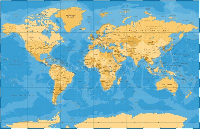 Vector azul de oro político del mapa del mundo stock de ilustración
