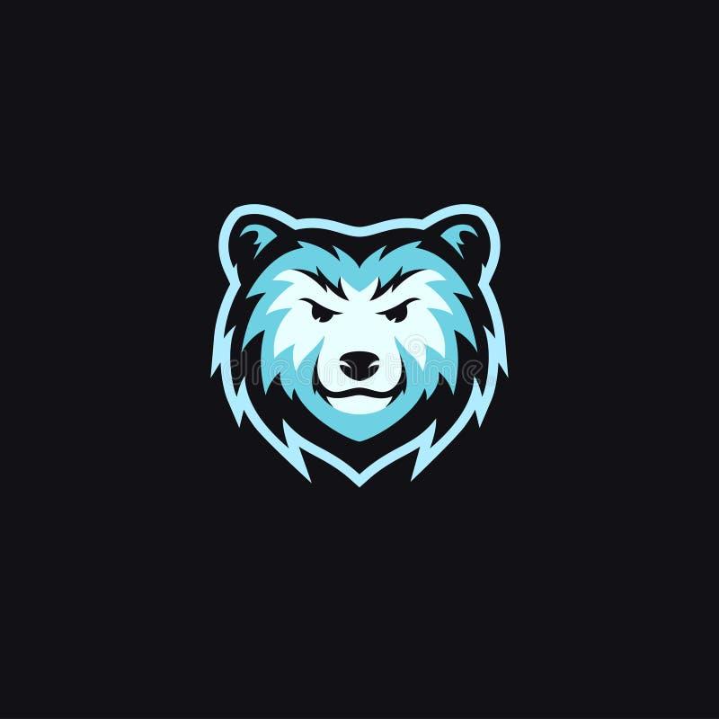 Vector azul del diseño del logotipo de la mascota de la cabeza del oso libre illustration