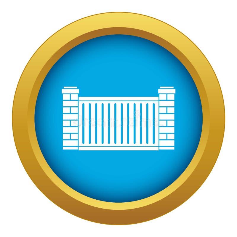 Vector azul del icono casero de la cerca aislado stock de ilustración