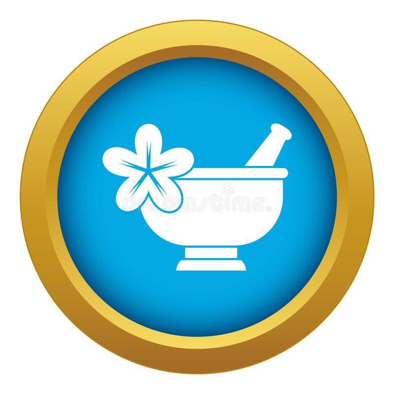 Vector azul del icono de la farmacia del mortero y de la maja aislado stock de ilustración