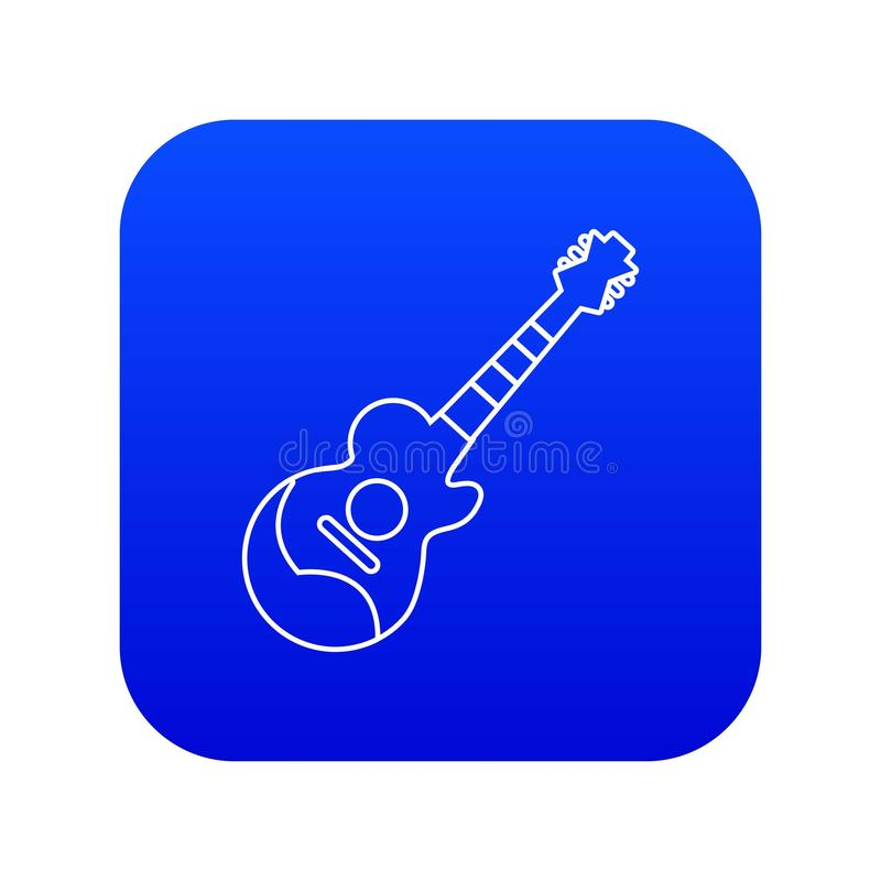 Vector azul del icono de la guitarra acústica libre illustration