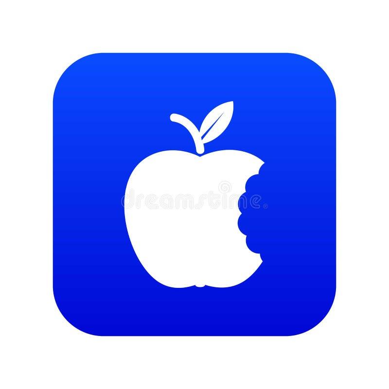 Vector azul del icono de la manzana de la mordedura ilustración del vector