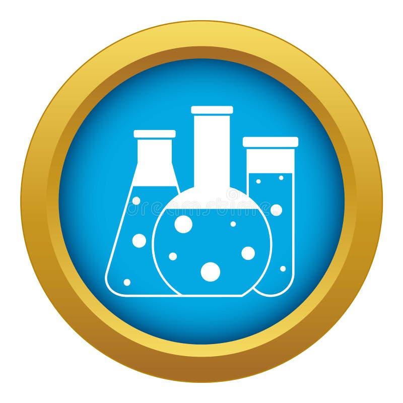 Vector azul del icono de los frascos del laboratorio aislado libre illustration