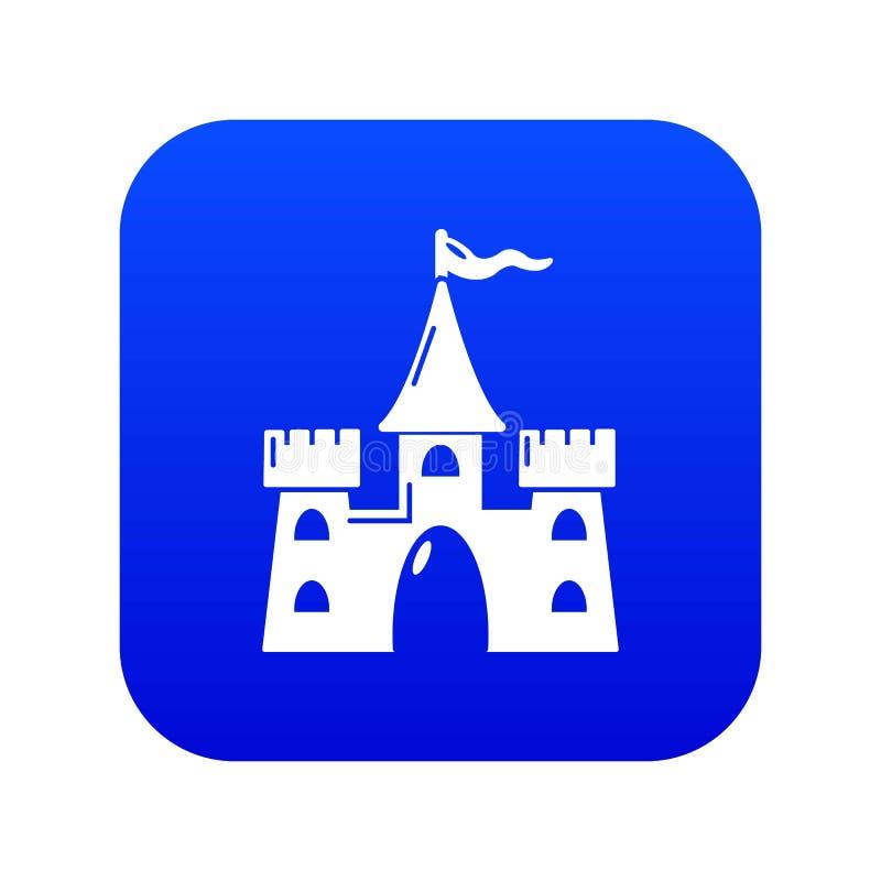 Vector azul del icono del edificio del castillo stock de ilustración