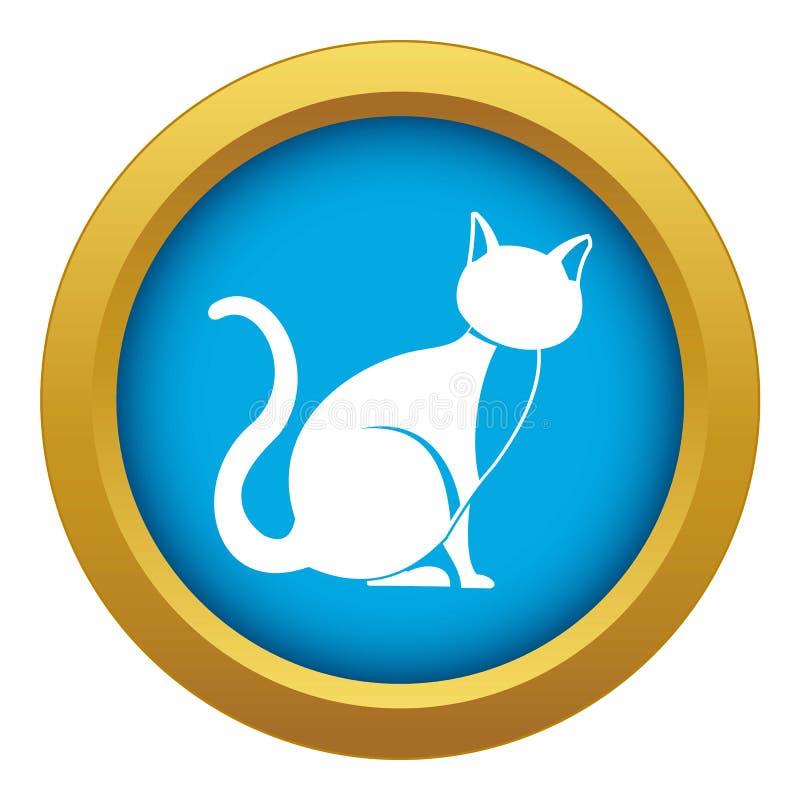 Vector azul del icono del gato negro aislado stock de ilustración