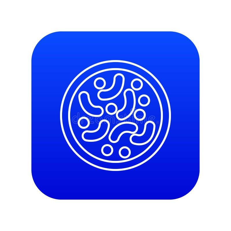 Vector azul del icono microscópico de las bacterias libre illustration