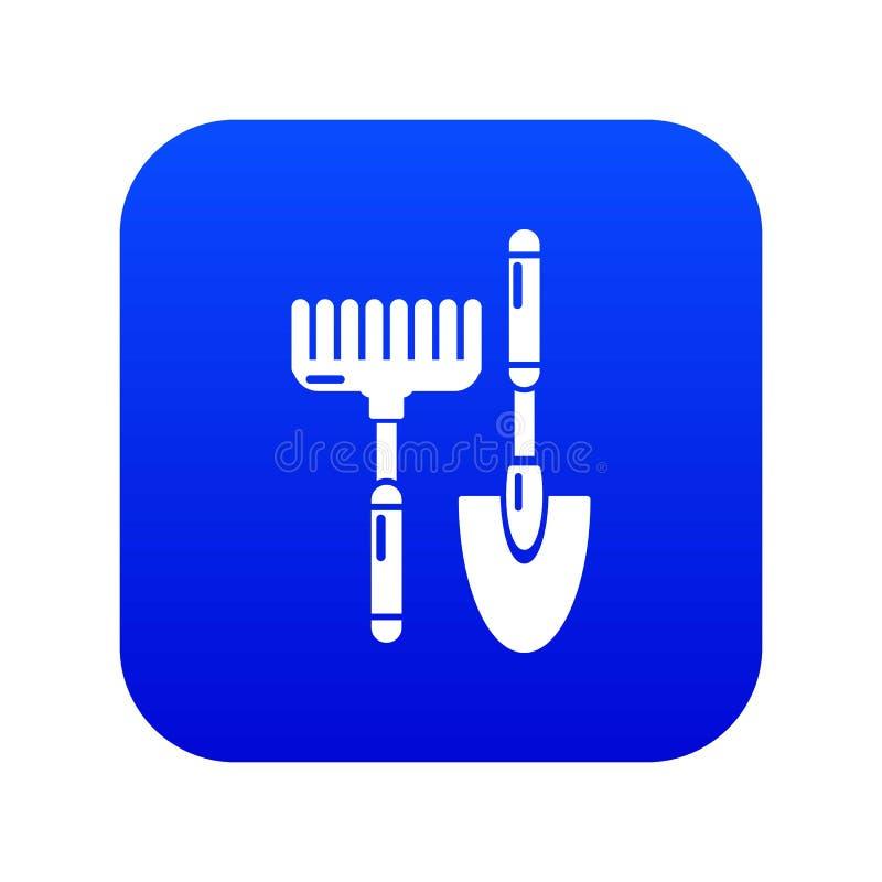 Vector azul del icono del rastrillo de la mano de la cucharada libre illustration