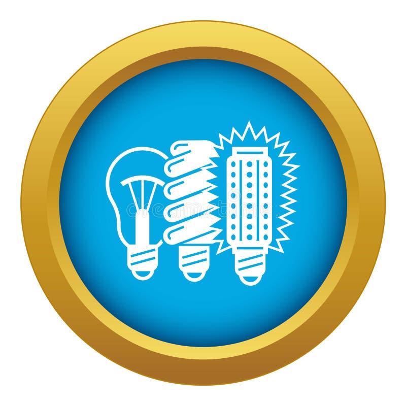 Vector azul del icono tradicional del bulbo aislado stock de ilustración