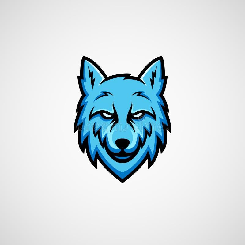Vector azul del logotipo de la mascota del lobo ilustración del vector