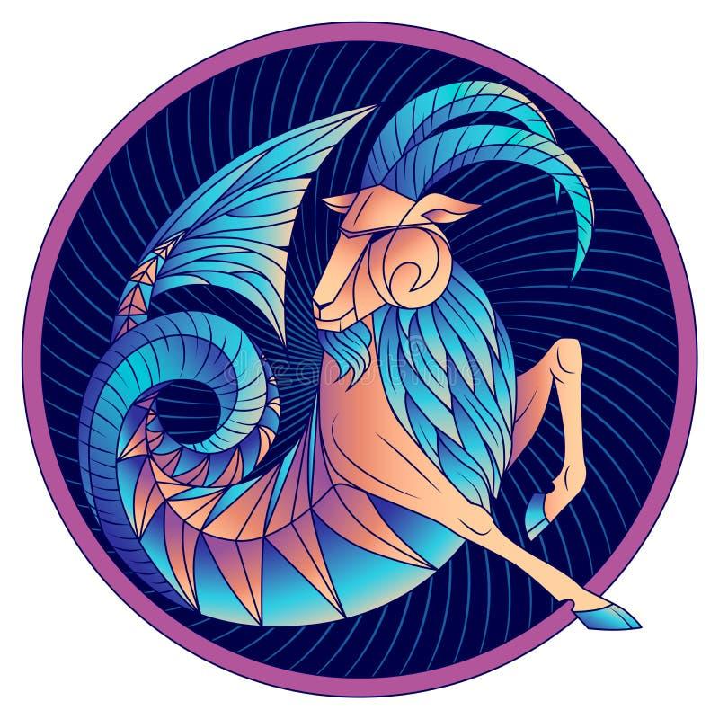 Vector azul del símbolo del horóscopo de la muestra del zodiaco del Capricornio stock de ilustración