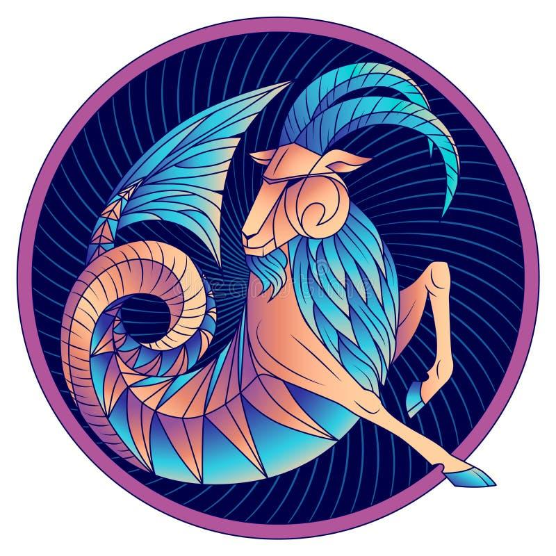 Vector azul del símbolo del horóscopo de la muestra del zodiaco del Capricornio ilustración del vector