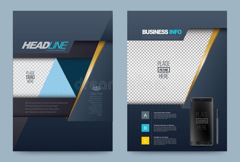 Vector azul marino de la plantilla del diseño del aviador del folleto del informe anual libre illustration