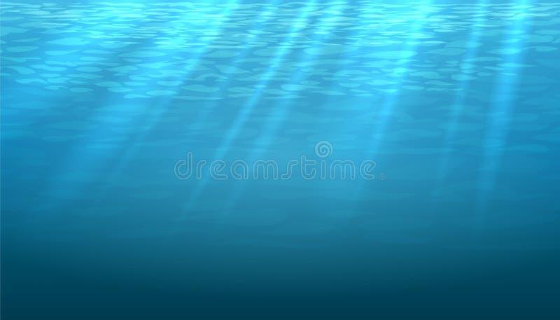 Vector azul subacuático vacío del extracto del brillo ilustración del vector