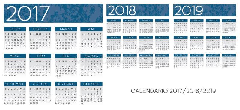 Vector azul texturizado español del calendario ilustración del vector