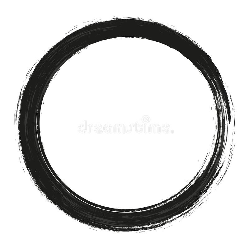 Vector Bürstenanschlagkreise der Farbe auf weißem Hintergrund Gezeichneter Pinselkreis der Tinte Hand Logo, Aufklebergestaltungse lizenzfreies stockfoto
