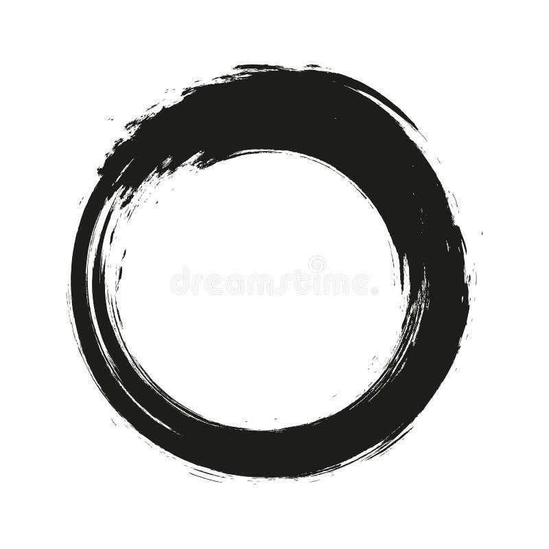 Vector Bürstenanschlagkreise der Farbe auf weißem Hintergrund Gezeichneter Pinselkreis der Tinte Hand Logo, Aufklebergestaltungse lizenzfreies stockbild