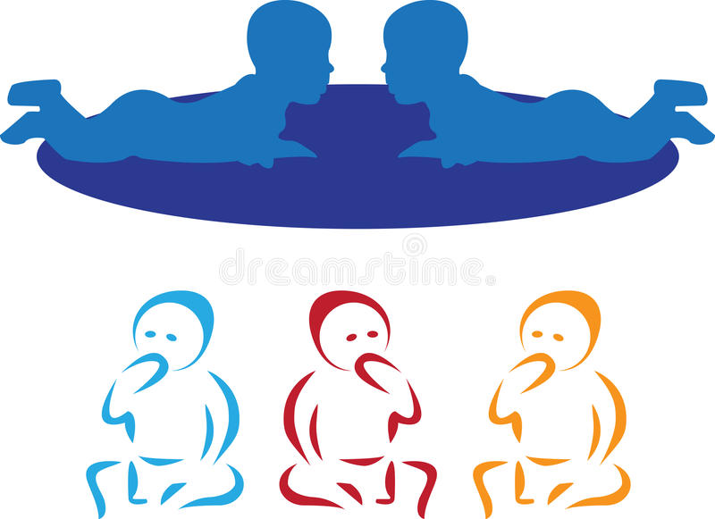 Vector Babies. Illustration of babies is isolated on white background, created in illustrator software stock illustration