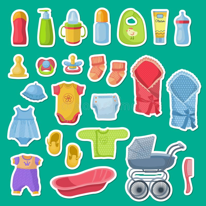 Vector baby accessories stickers on blue background stock illustration