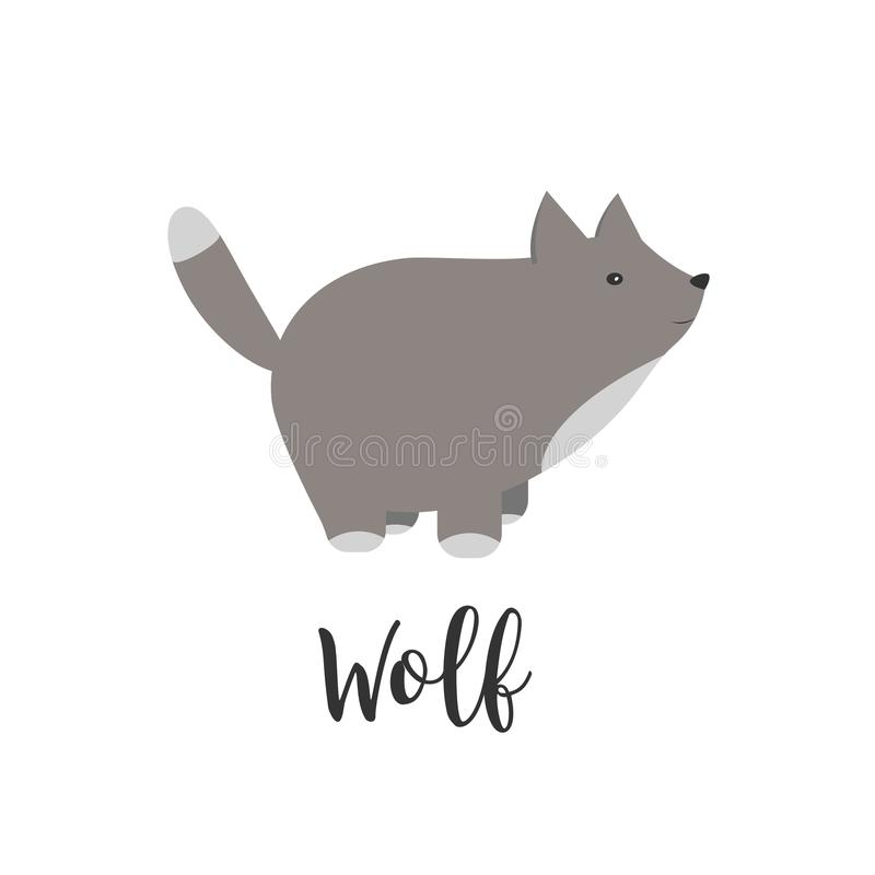 Vector baby animal and hand letters. Greeting card with cute wolf. Vector cartoon illustration of baby animals. Logo vector illustration