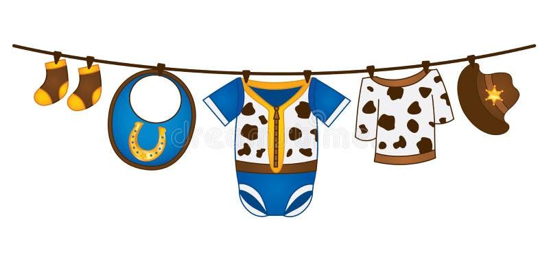 Vector Baby Boy Clothes in Cowboy Style Hanging on the Line. Vector baby boy clothes hanging on the line. Vector baby boy clothes in cowboy style. Vector baby vector illustration