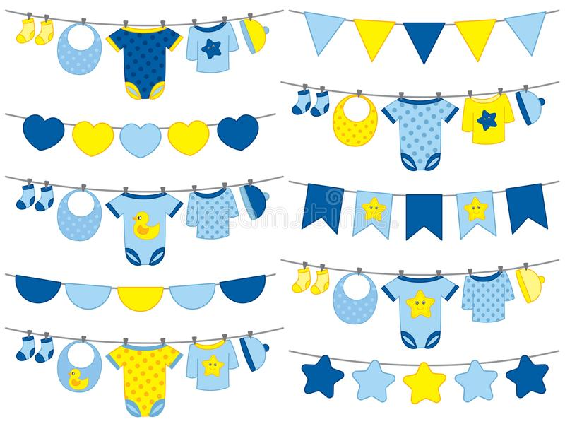 Vector Baby Boy Clothes Hanging on Line royalty free illustration