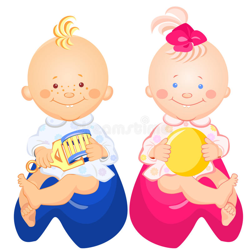 vector Baby boy and girl are sitting on the pots vector illustration