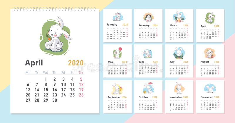 Vector baby calendar for 2020 year template with cute little funny white bunny character in cartoon hand drawn style royalty free illustration