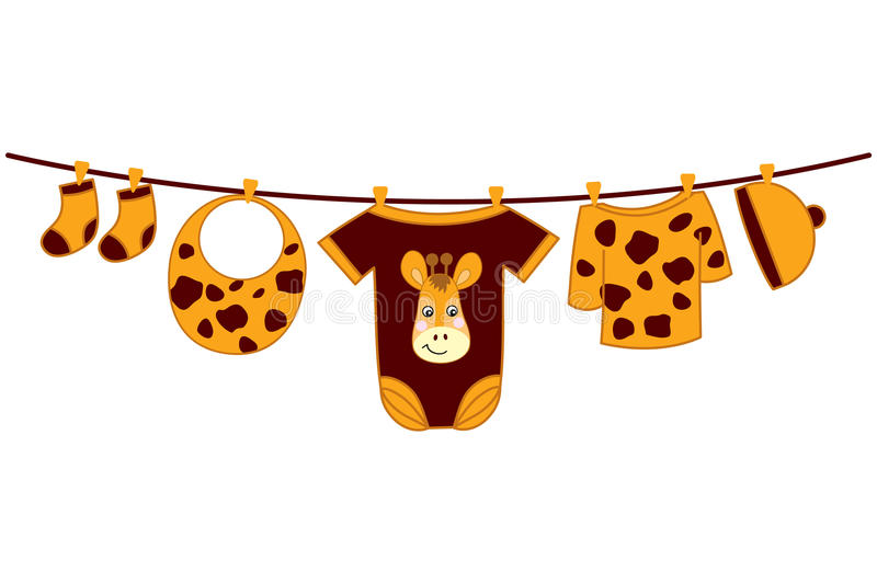 Vector Baby Clothes. Baby Shower Vector Illustration. Vector baby clothes with giraffe image hanging on the line. Vector baby clothes. Baby shower vector vector illustration