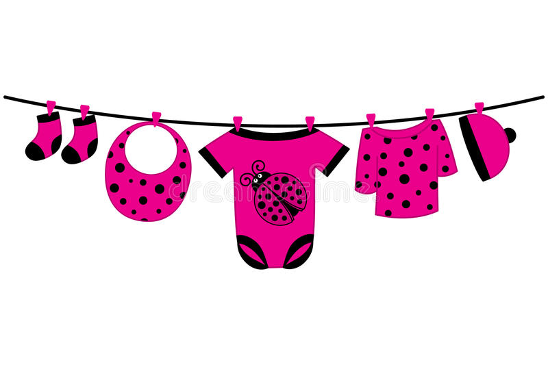 Vector Baby Clothes. Baby Shower Vector Illustration. Vector baby clothes with ladybug image hanging on the line. Vector baby clothes. Baby shower vector stock illustration