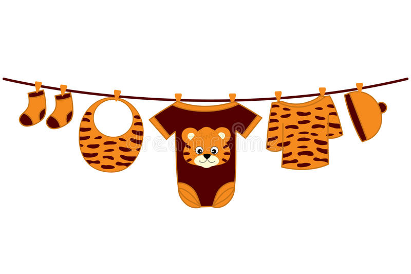 Vector Baby Clothes. Baby Shower Vector Illustration. Vector baby clothes with tiger image hanging on the line. Vector baby clothes. Baby shower vector vector illustration