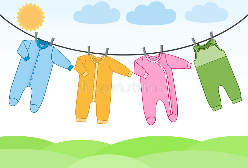 Vector baby clothes on clothesline. vector illustration