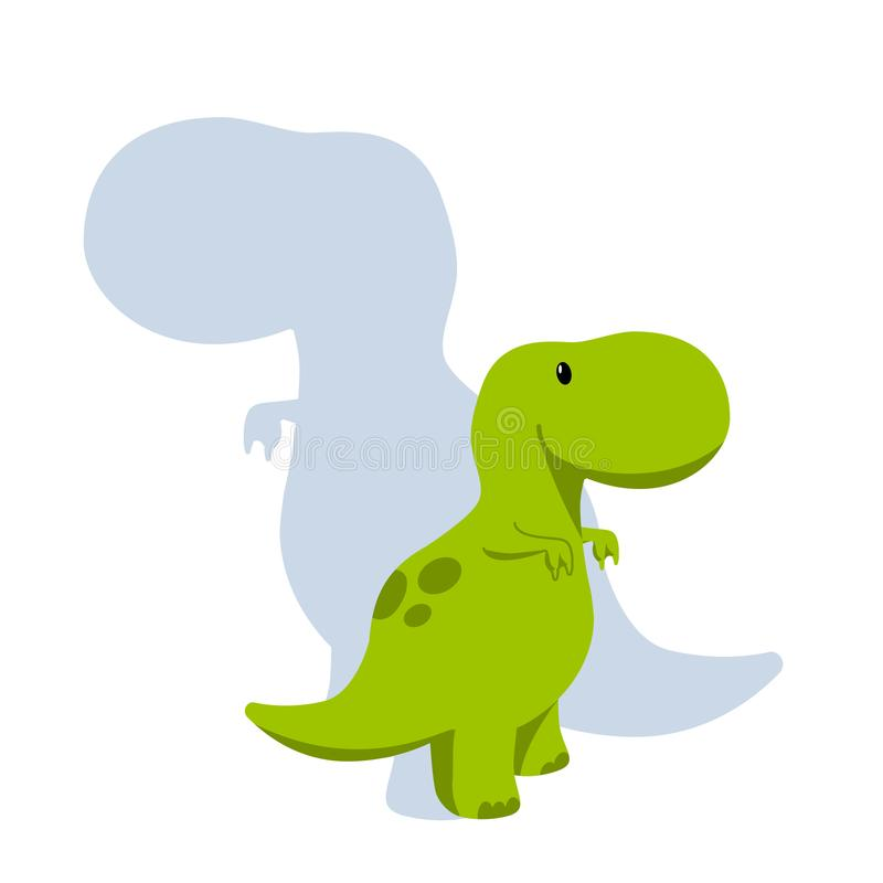 Vector baby dino flat style icon and its` silhouette - tyrannosaurus or t-rex - for logo, poster, banner. For historic event, royalty free illustration