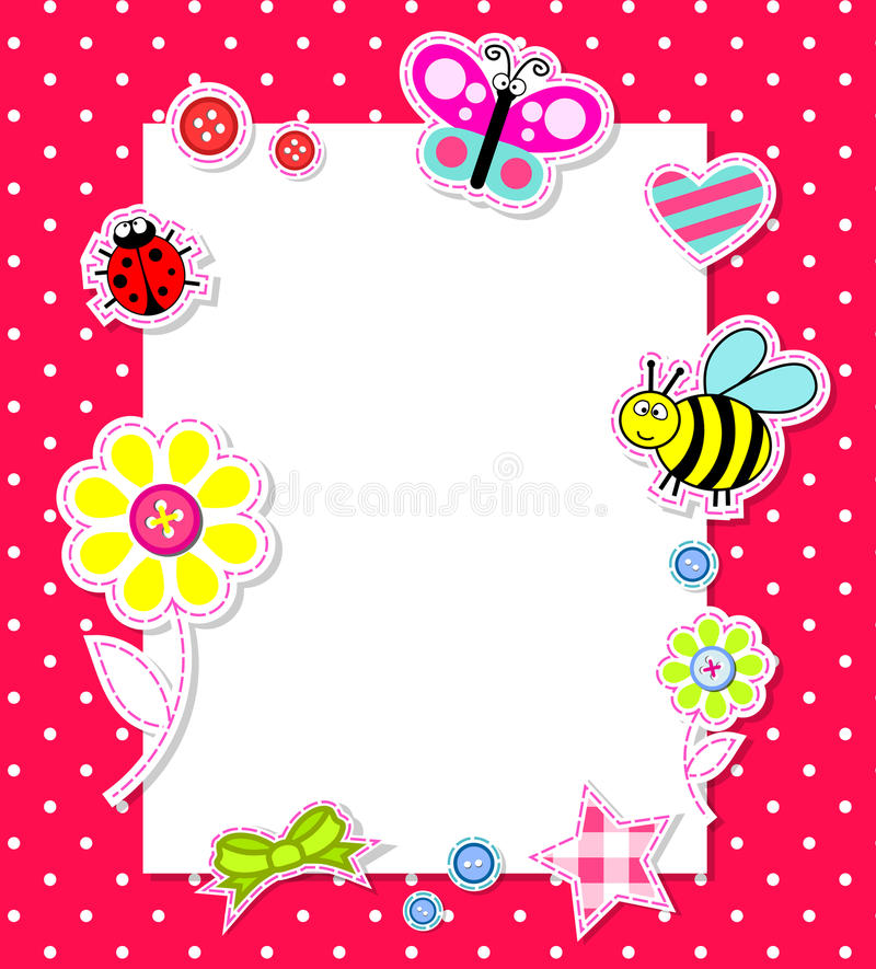 Vector baby girl card with scrapbook elements vector illustration