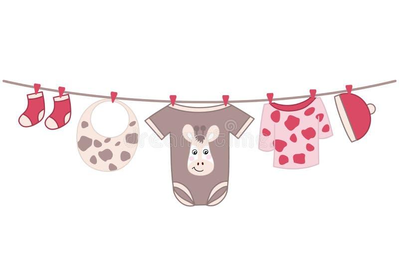 Vector Baby Girl Clothes. Baby Girl Shower Vector Illustration. stock illustration
