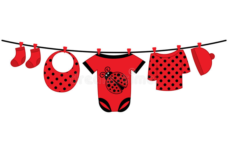 Vector Baby Girl Clothes. Baby Shower Vector Illustration. Vector baby girl clothes with ladybug image hanging on the line. Vector baby girl clothes. Baby royalty free illustration