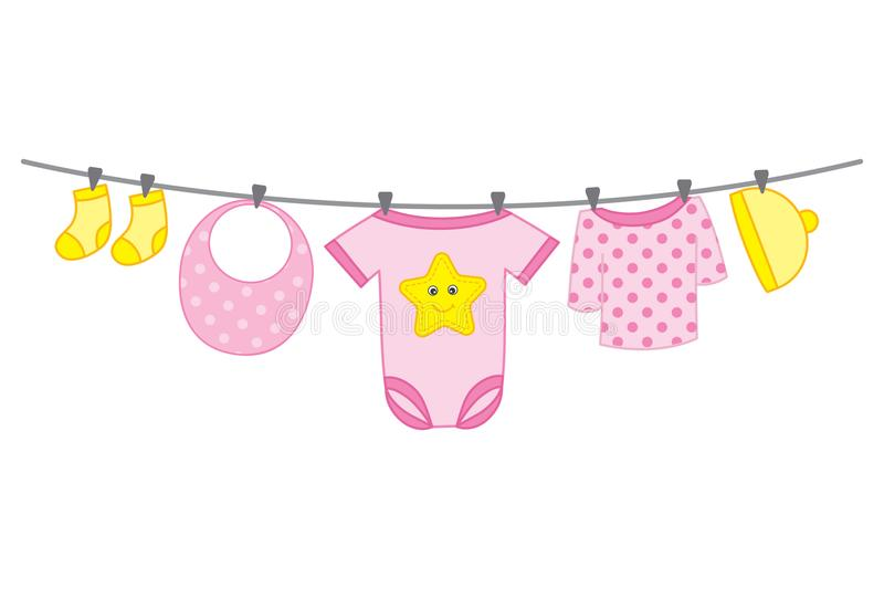 Vector Baby Girl Clothes Hanging on Line stock illustration
