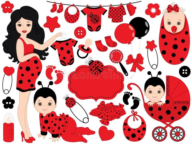 Vector Baby Girl Set with Ladybug Pattern. Vector Baby Girl. Vector Baby Shower. vector illustration