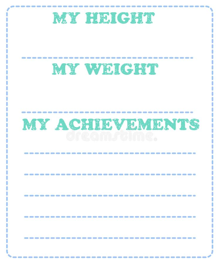 Vector baby milestone card for girl or boy. My height, my weight vector illustration